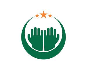 praying hand islam muslim religion spirituality religious image vector icon