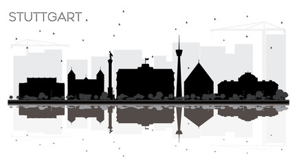 Stuttgart Germany City skyline black and white silhouette with Reflections.