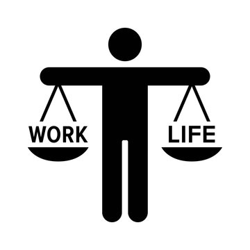 Person hold a scale for work life balance flat vector icon for job apps and websites
