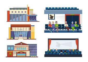 Set facades cinema building. People in auditorium, interior cinema hall.