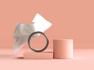 white fabric floating cream-orange scene geometric abstract 3d rendering