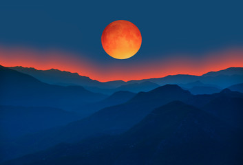 "Big bloody red moon- Lunar eclipse ""Elements of this image furnished by NASA """