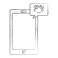 smartphone device with speech bubble kawaii character