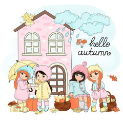 Autumn Clipart Vector Illustration Set Color AUTUMN GIFTS for Scrapbooking Babybook and Digital Print on Card And Photo Children Album