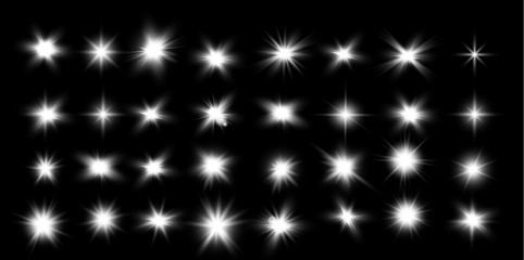 Set of glowing lights effects isolated on black background. Glow light effect. Star burst with sparkles. lens flare.Sun rays.