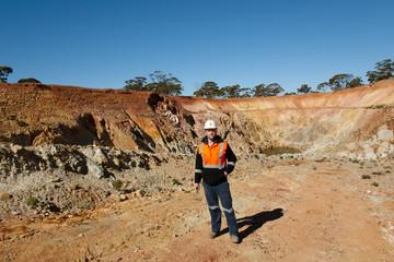 Geologist Inside an Open Pit Mine
