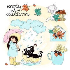 Autumn Clipart Vector Illustration Set Color ENJOY AUTUMN for Scrapbooking Babybook and Digital Print on Card And Photo Children Album