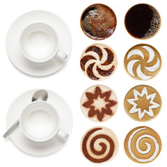 Top view of coffee cups and set of latte art.