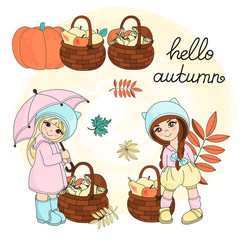 Autumn Clipart Vector Illustration Set Color HELLO AUTUMN for Scrapbooking Babybook and Digital Print on Card And Photo Children Album