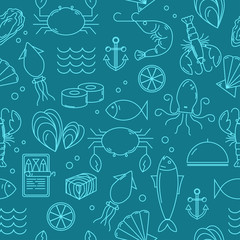 Seamless pattern with seafood