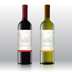 Premium Quality Red and White Wine Labels Set on the Realistic Vector Bottles. Clean and Modern Design with Hand Drawn Grapes Bunch, Leaf and Retro Typography.