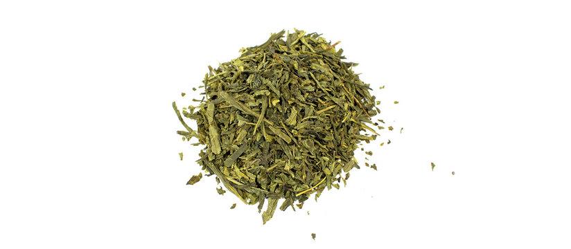 Japanischer Sencha grüner Tee Haufen isoliert