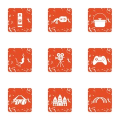 Short film icons set. Grunge set of 9 short film vector icons for web isolated on white background