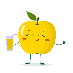Cute yellow apple cartoon character holding a glass with juice.