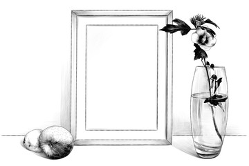 template picture in a frame sitting on the table, beside a glass vase with a flower and an Apple and a lemon, sketch vector graphics monochrome illustration on white background