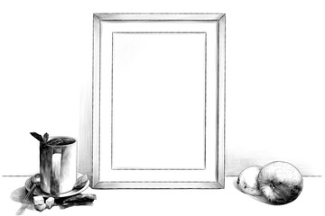 template picture in frame standing on the table next to a Cup of tea on a saucer with a teaspoon of lime and sugar pieces and with Apple and lemon, sketch vector graphics monochrome illustration