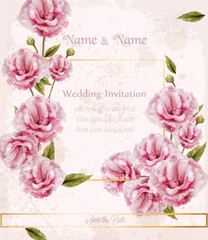 Watercolor pink wild roses card Vector. Beautiful floral decors banners