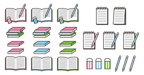 本・メモ・ノート・筆記具のセット