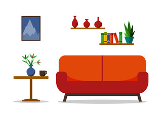 Home interior with sofa. For web site, print, poster, presentation, infographic. Flat vector illustration