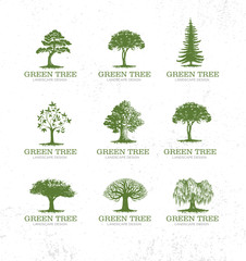 Landscape Design Workshop Identity Tree Collection. Artisan Custom Stamp Vector Design Element On Rough Background.