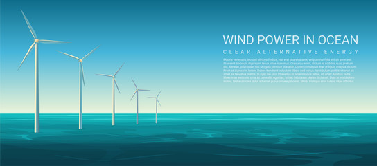 Vector Wind energy power concept poster header with wind turbines in ocean.