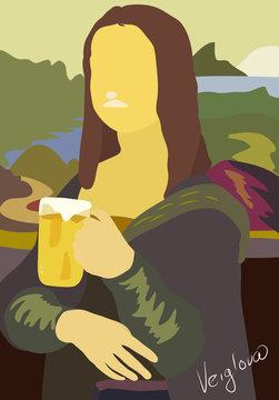 Mona Lisa with beer