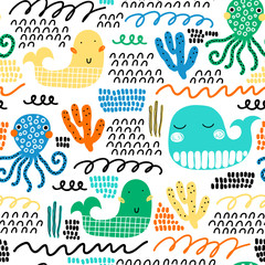 Childish seamless pattern with whale and waves. Scandinavian style. Summer marina background. Perfect for fabric, textile. Vector background. Pastel colors