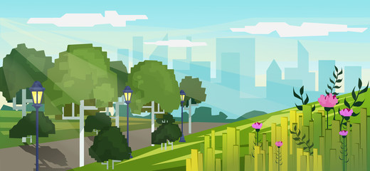 Vector modern pixel game style illustration of city public park with skyscrapers buildings background.