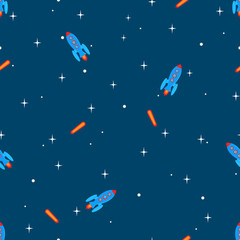 Rockets universe seamless pattern. Rockets, stars and falling stars in the universe as seamless pattern