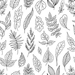 Simple seamless vector pattern with different leaves.