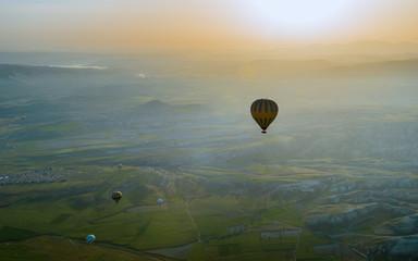 Hot air balloons flying over Cappadocia, Turkey