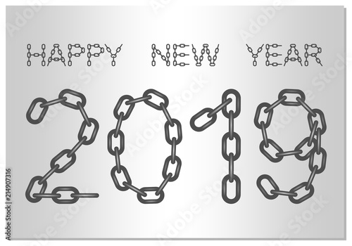 New Year Greetings for 2019 with the words Happy New Year from steel ...