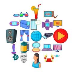 Equipment for cinema icons set. Cartoon set of 25 equipment for cinema vector icons for web isolated on white background