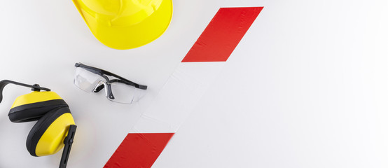 Barrier Tape Strip Separating Safety Gear from Copy Space Banner Image Wall mural