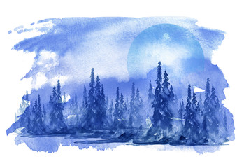 Watercolor landscape, forest landscape Picture of a pine forest, a blue silhouette of trees and bushes, against a background of blue sky, frozen river. Watercolor logo.