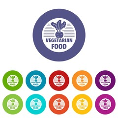 Vegetarian food icons color set vector for any web design on white background