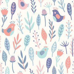 Cute birds and plants. Vector hand drawn seamless pattern. Perfect for textile design