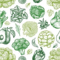Green vegetables seamless pattern. Handsketched vintage vegetables. Line art illustration. Vector illustration