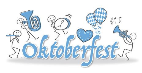 """Schriftzug """"Oktoberfest"""" mit Blaskapelle, Lebkuchenherz und Luftballons"""