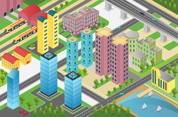 Isometric design of city district with residential buildings and facilities on map.