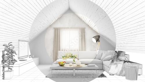 CAD Planung Von Dachgeschoss Wohnzimmer