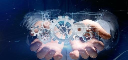 Man holding a technology gear wheel interface3d rendering