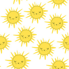 Vector seamless pattern with the sun. Scandinavian style. Baby print