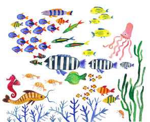 watercolor collection of sea fish. Underwater world, fish, sharks, stingrays, corals