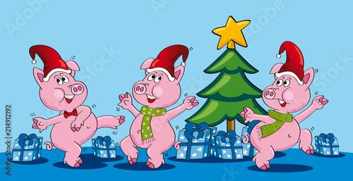 Tannenbaum Animation.Tanzende Schweine Vor Tannenbaum Cartoon It Stock Image And