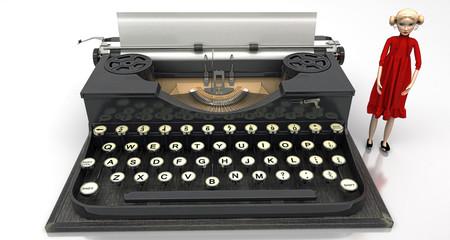 Fashion Blogger con macchina da scrivere old style, illustrazione 3d