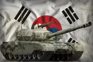 heavy tank with city pixel camouflage on the Republic of Korea (South Korea) national flag background. 3d Illustration