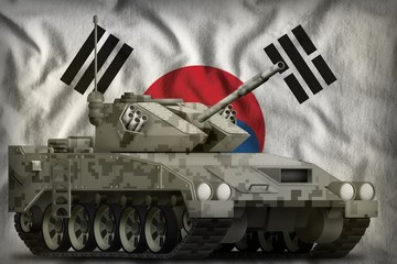 light tank apc with pixel city camouflage on the Republic of Korea (South Korea) national flag background. 3d Illustration