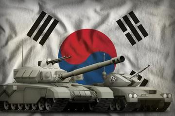 Republic of Korea (South Korea) tank forces concept on the national flag background. 3d Illustration