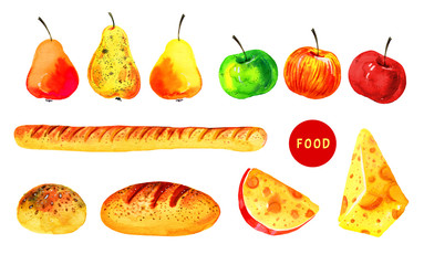 Stylized hand drawn watercolor illustration set with food. Cheese, bread and fruits